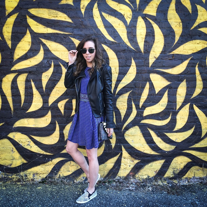 fashion blogger. va darling. a viza style. printed silk madewell dress. faux leather zara jacket. joie kidmore shoes. spring outfit. brunch. andrea viza 2