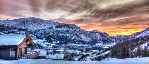 winter orange cloud snow norway clouds sunrise painting skiing enhanced hdr hemsedal skislope