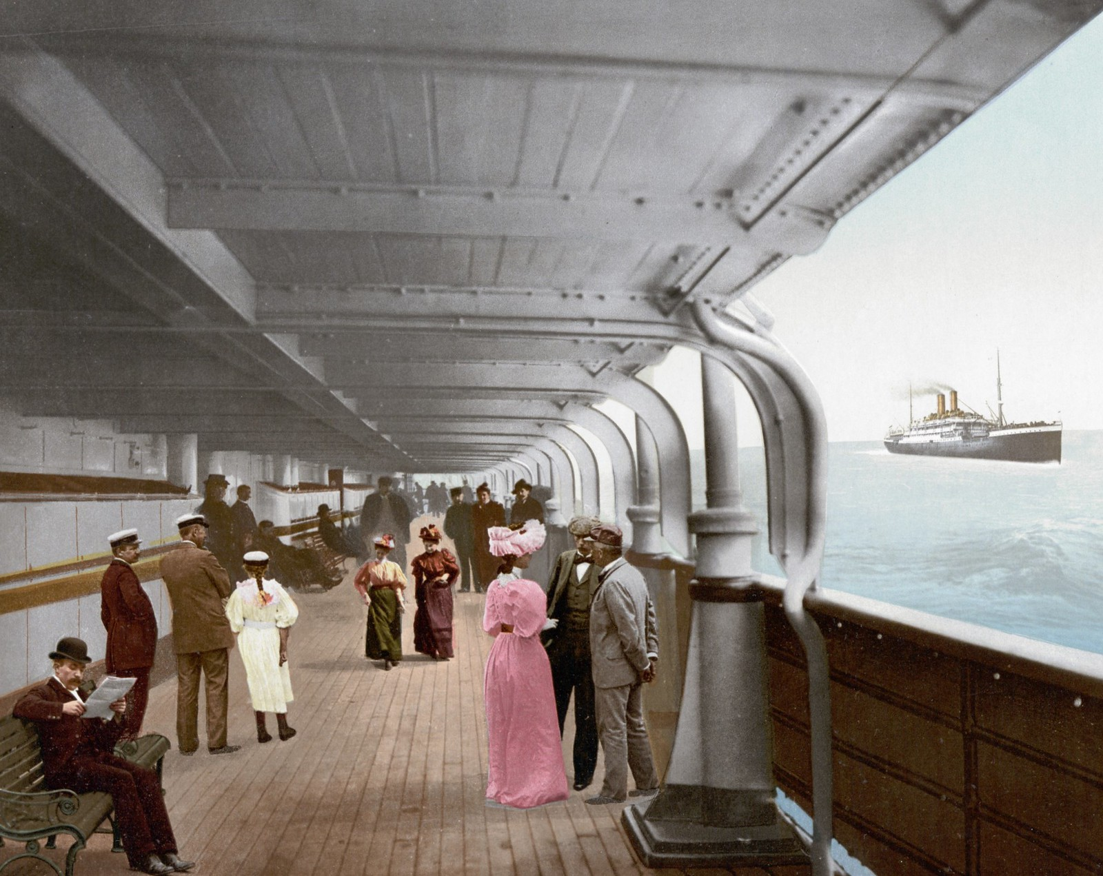 Victorian life on the promenade deck of an 1890s transatlantic steamship