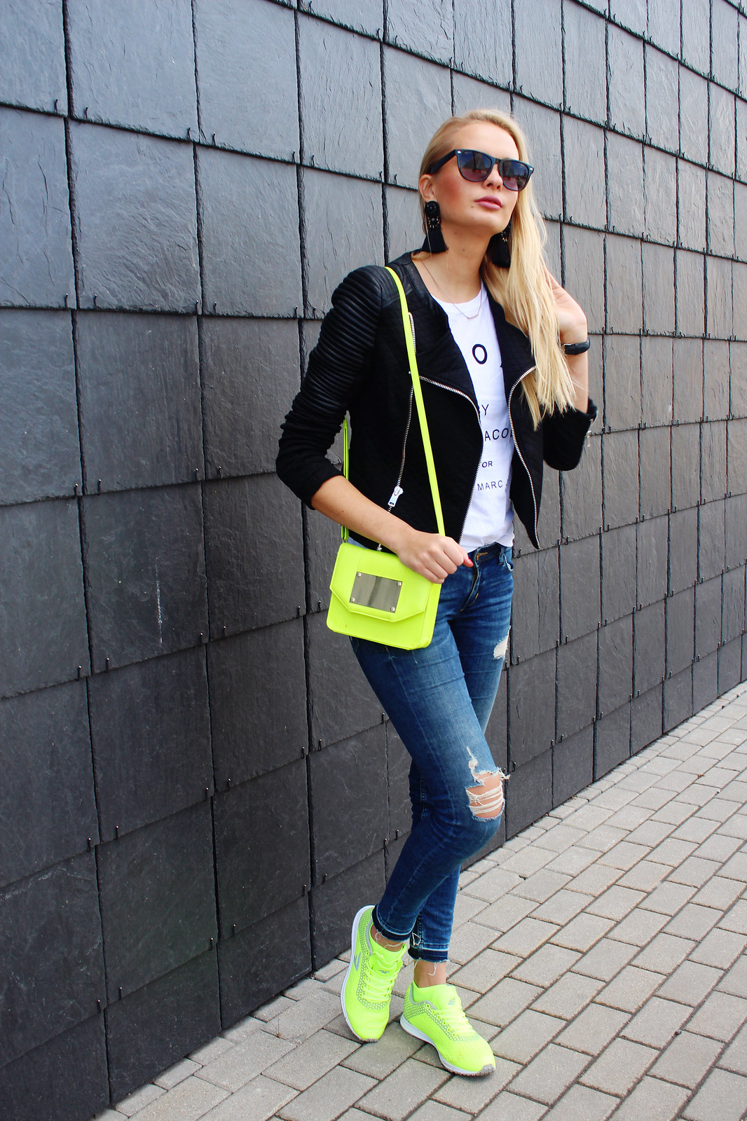 Neon colour accents outfit
