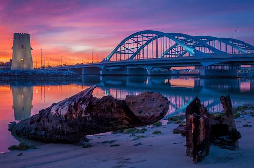 bridge water sunrise landscape asia uae abudhabi unitedarabemirates hdr ae