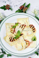 Homemade Ravioli with Peaches and Goat Cheese