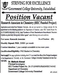 Government College University Faislabad Research Assistant Job