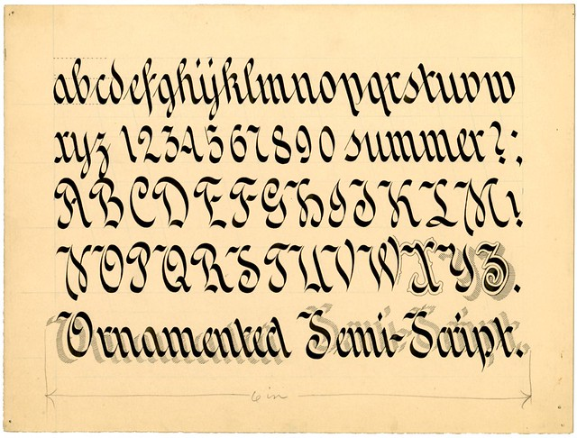 Zanerian typeform, early 20th century - Ornamented Semi-Script