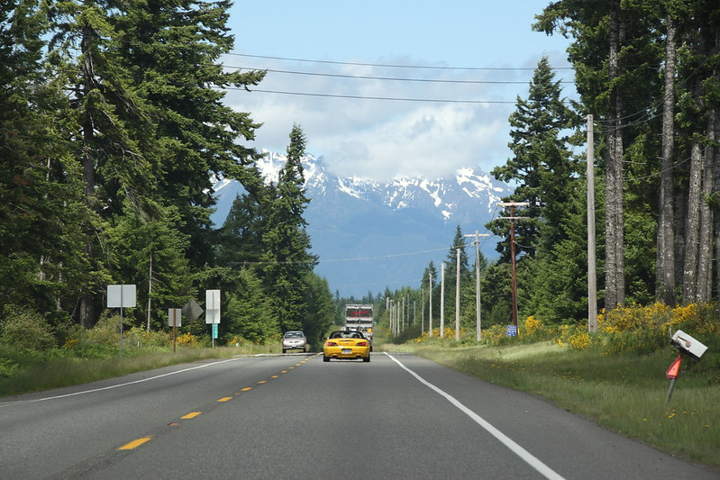 Hwy 101 North looking toward Olympic Mountains