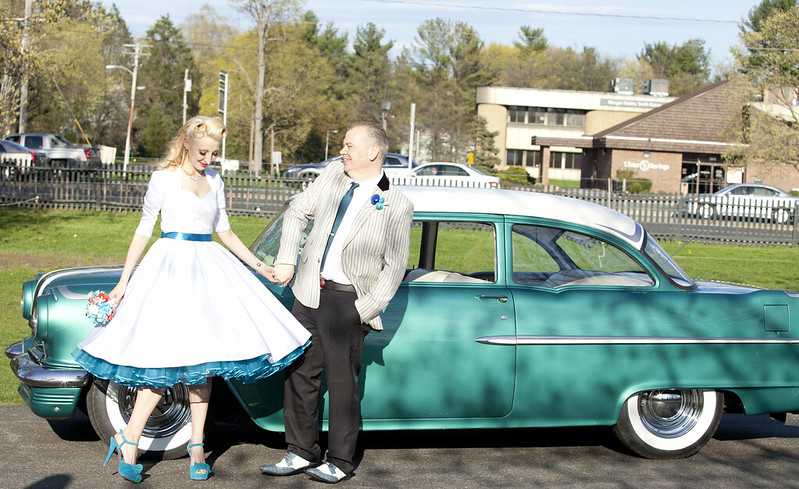 Dancing in front of the car