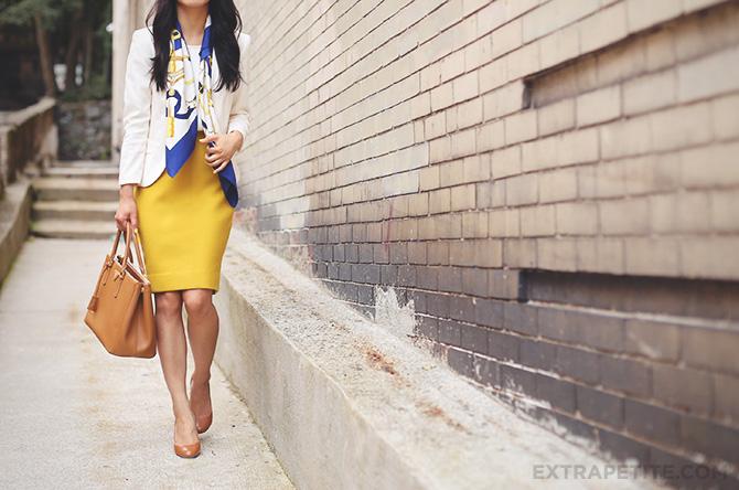 mustard skirt hermes scarf4