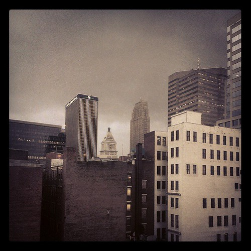 Looking like the onset of the apocalypse in downtown Cincinnati #Thunderstorms