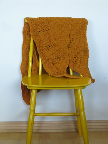 My hand-knit yellow scarf