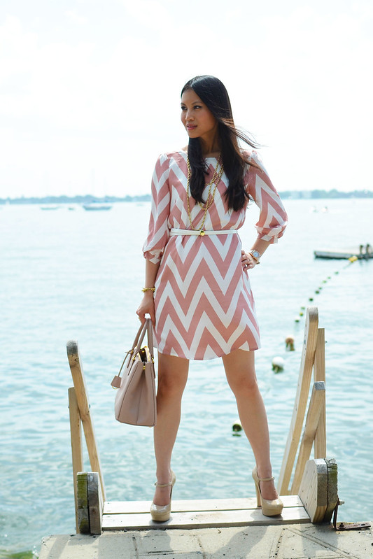 LuLus.com pink chevron dress