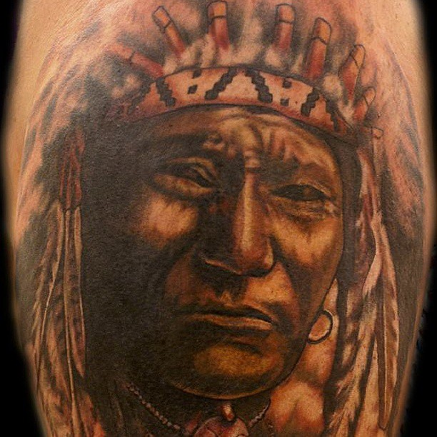 Native american tattoo indian chief tattoo portrait for Famous tattoos fort myers