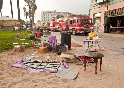 Car Drives on Venice Boardwalk 8-3-13