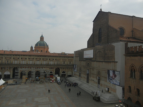 DSCN4673 _ Basilica di San Petronio (right) and Sanctuary of Santa Maria della Vita (domed building) viewed from Palazzo D'Accursio (Palazzo Comunale), Bologna, 18 October