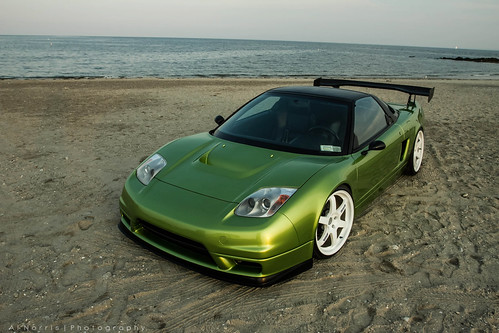 Beach Acura NSX Green with white wheels rims
