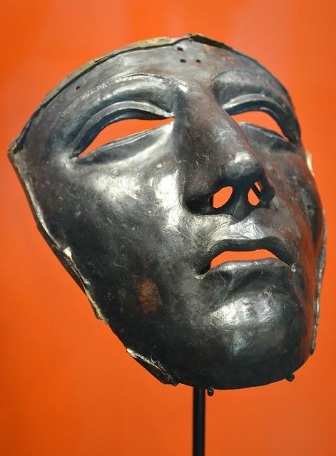 Kalkriese face mask for Roman cavalry helmet, Museum und Park Kalkriese, Germany