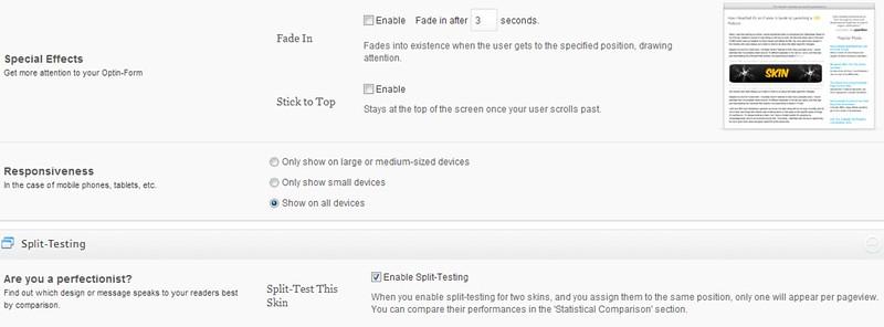 OptinSkin split testing settings