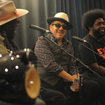 Wed, 11/09/2013 - 9:20pm - Blue Note Records' Don Was interviews Elvis Costello and Amir '?uestlove' Thompson about their 2013 release, Wise Up Ghost. At Electric Lady Studios in NYC for WFUV. Photo by Neil Swanson