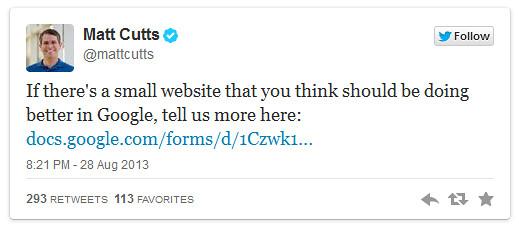 Matt Cutt's Twitter shout on small sites ranknig well