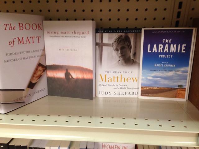University of Wyoming Bookstore Shelf -- The Matthew Shepard Section