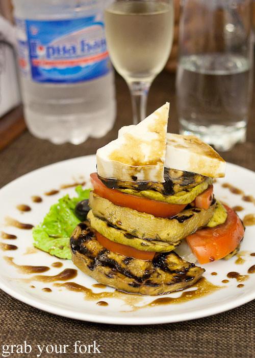 eggplant zucchini tomato salad at Izbata Tavern, Sofia, Bulgaria