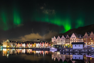 Aurora Borealis over the Wharf in Bergen, Norway