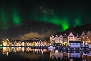 Aurora Borealis over the Wharf in Bergen, Norway