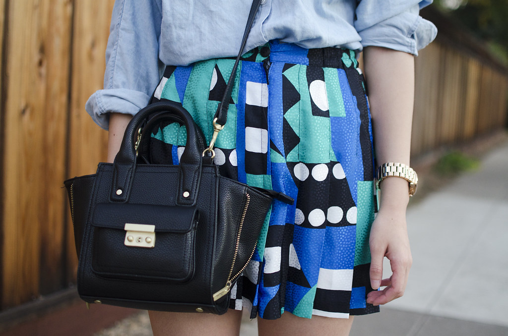 vintage skirt, phillip lim for target mini satchel, michael kors rose gold watch, readytwowear