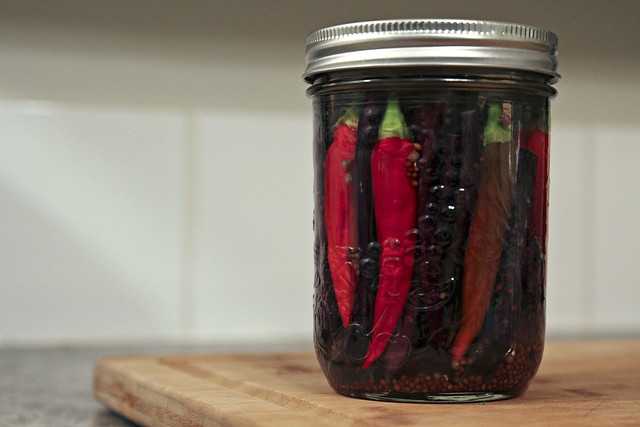 pickled heirloom beans and peppers