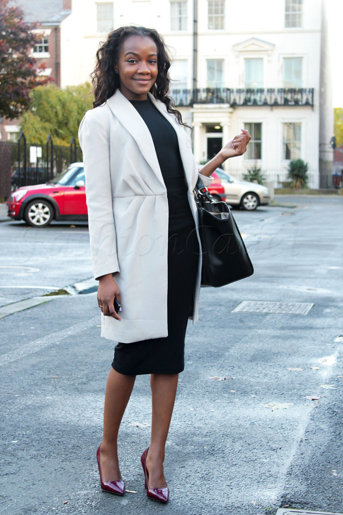 burgundy-pumps-office-look,  tailor made look, mid calf pencil skirt, cream tailored coat, lace dress, leather pencil skirt