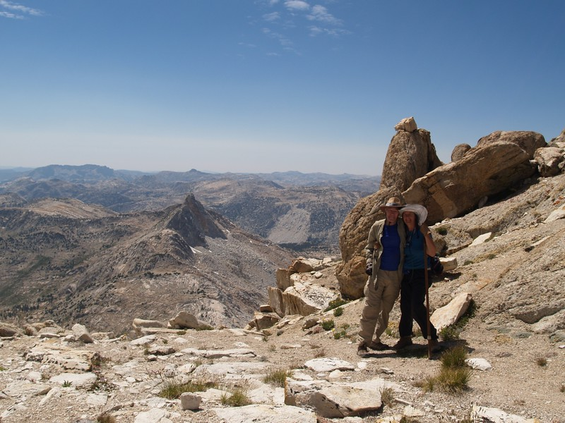 Vicki and I just below the summit of Matterhorn Peak looking west toward the Finger Peaks
