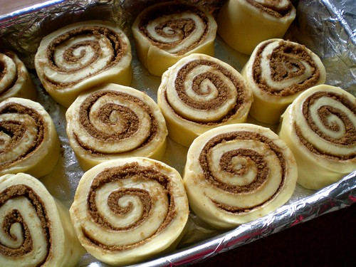 cinnamon rolls sliced in pan