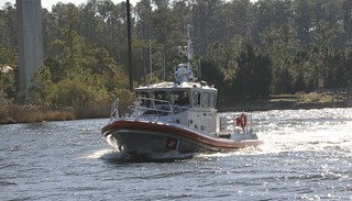 A 45-foot Response Boat - Medium is shown transiting the Pamlico River toward Coast Guard Station Hobucken, N.C., Thursday, Dec. 12, 2013, where it will be delivered to replace their 41-foot Utility Boat. The boat is the service's 144th of 170 RB-Ms being delivered to Coast Guard units. U.S. Coast Guard photo by Petty Officer 3rd Class David Weydert
