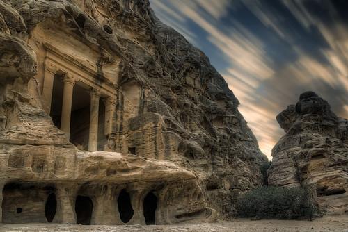 old travel cloud motion stone architecture movement ancient long exposure time little petra ruin east jordan middle