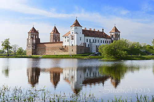 old travel blue red summer sky people lake reflection brick tower castle heritage history tourism water beautiful wall architecture landscape pond construction ancient europe day exterior view fort traditional famous culture bank landmark palace medieval unesco shore historical belarus fortress mir grodno belorus nobility belorussia belarussia