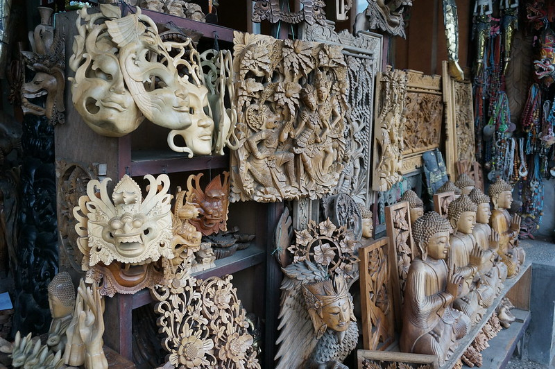 One of the shops in Ubud selling arts