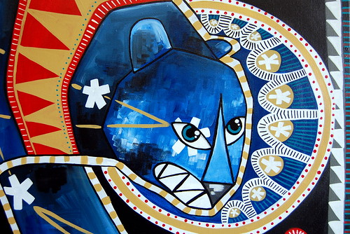 Ursa Major - Folk Art Inspired Painting - Detail
