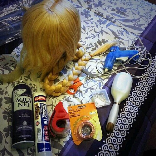I'm about halfway through with my Mami Tomoe wig! Here's what I started with... #cosplay #cosplayprogress