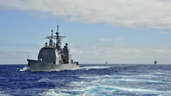 USS Lake Erie (CG 70) operates off the coast of Hawaii during exercise Koa Kai in January. (U.S. Navy/MC3 Johans Chavarro)