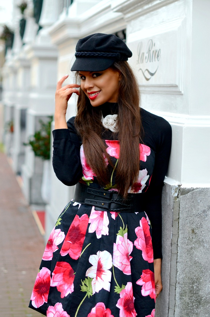DSC_4362 Floral dress, H&M fishermans cap xxx