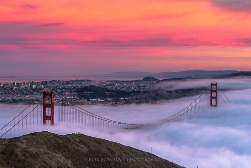sanfrancisco california city bridge sunset people color fog clouds hills goldengatebridge ants bayarea marincounty hillside sausalito southtower northtower slackerhill