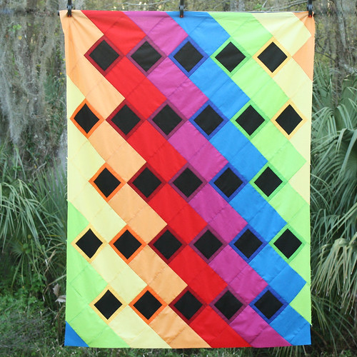 Rainbow Dance Party quilt top
