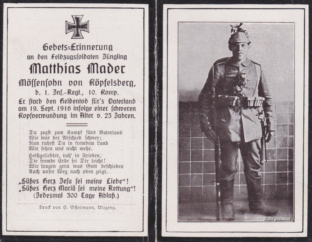 Sterbebild for matthias mader bayer 1 infanterie regiment 10 kompanie