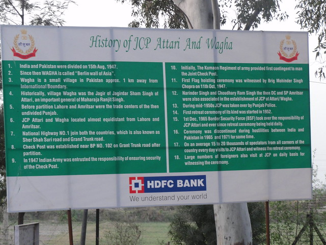 A billboard narrating the history of two small villages, Wagah and Attari