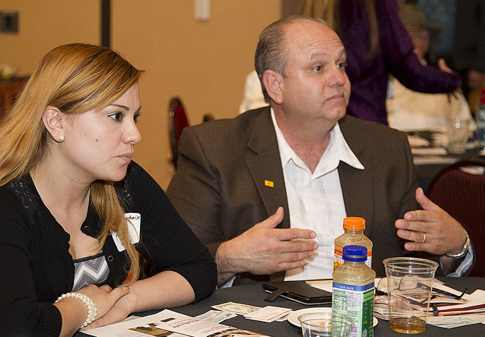 Eric Quintana and Lourdes Vancheik of Performance Maintenance, Inc. discuss the company's business goals during the March 13 Resource Roundtable.