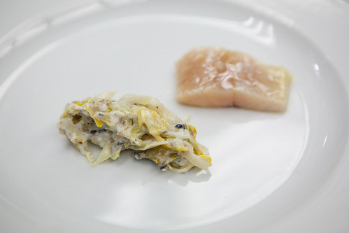 Lacto-fermented leeks with preserved lemons and cured olive oil poached trout