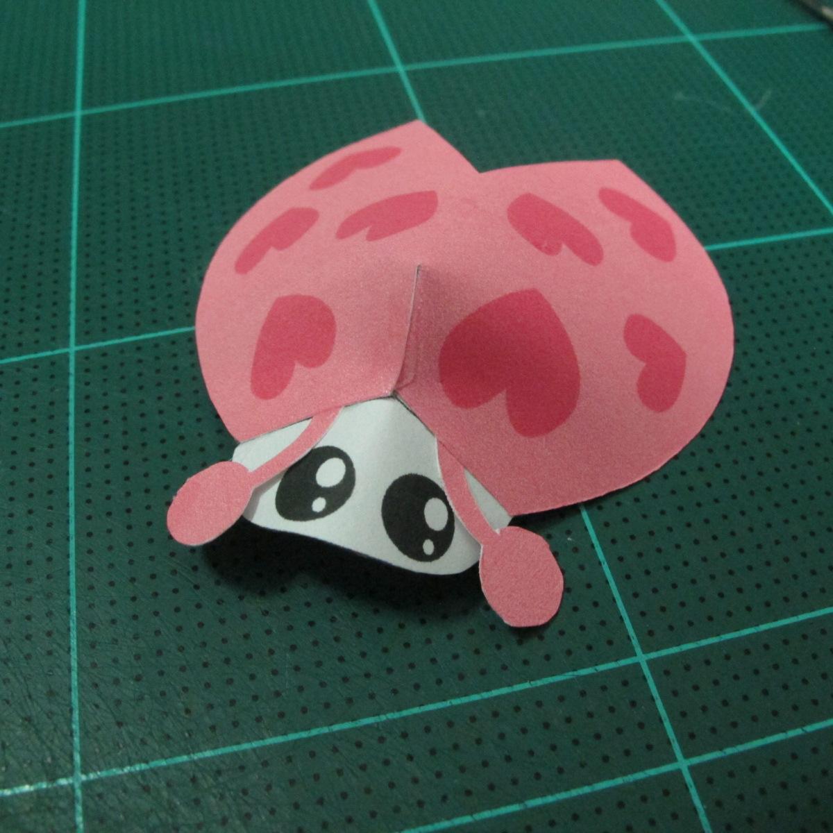 วิธีทำโมเดลกระดาษรูปเต่าทองแบบง่ายๆ (Easy Ladybug Papercraft Model) 008