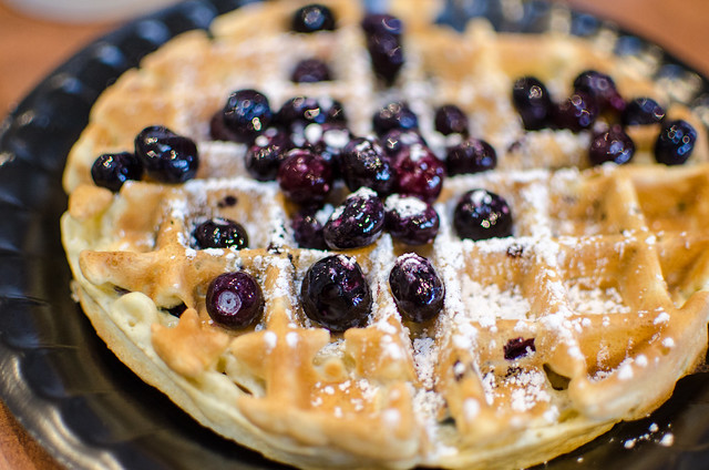 Yet another pic of a Marriott waffle with blueberries and powdered sugar