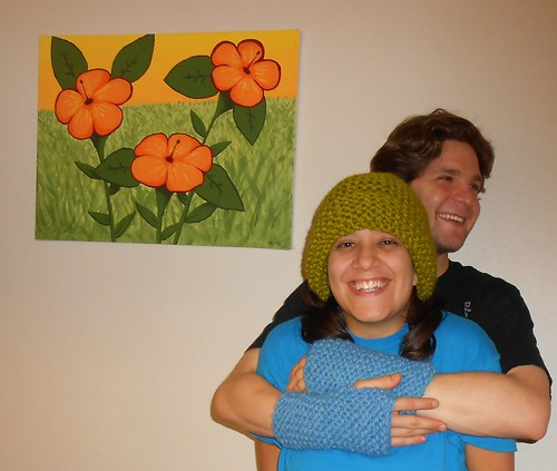 Katie and Aaron with my Garter Stitch Hat and Garter Stitch Cuffs