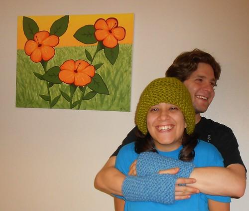 Katie and Aaron with my Garter Stitch Hat and Garter Stitch Cuffs