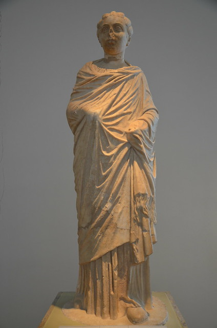 Statue of a girl, ascribed to Annia Faustina of Lucilla, daughters of Marcus Aurelius, from the Nymphaeum of Herodes Atticus at Olympia, dating from between 149 and 153 AD (posthumous), Olympia Archaeological Museum, Greece